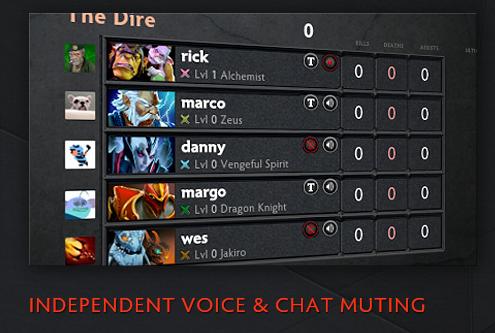 Por ultimo, se incluyo lentre las opciones de mutear por voz o texto a los jugadores de una partida. Para realizar esto solo debes pulsar el boton mute que se encuentra en los marcadores.