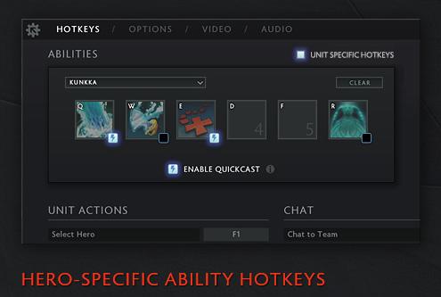 Ahora puedes crear combinaciones de teclas especificas para cada heroe, esto esta en el menu de Opciones -> Hotkeys; permitiendole a los jugadores crear sus conbinaciones a su preferencia.