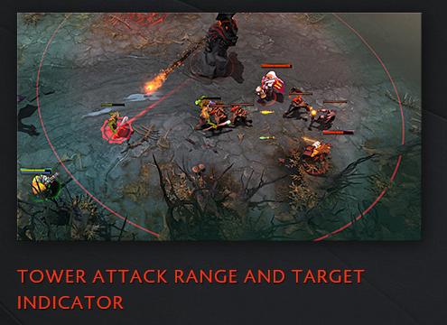 al seleccionar una torre ahora mostrará el rango de ataque y el objetivo actual.